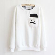 White Smile Round Neck Sweater