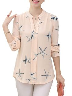 Buy Women's Blouse Fresh Style Starfish Pattern All Match Chic Long Sleeve Blouse & Blouses - at Jolly Chic Tunic Designs, Kurti Neck Designs, Stylish Dresses, Stylish Outfits, Fashion Outfits, Mode Shoes, Stylish Dress Designs, Blouses For Women, Clothes