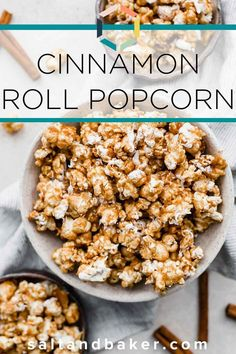 This homemade cinnamon roll popcorn is the best dessert popcorn recipe. It's easy to make, tastes like a cinnamon roll and is great for parties. It's a perfect game day food or holiday food! Cinnamon Popcorn, Cinnamon Chips, Cinnamon Rolls, Easy Snacks For Kids, Quick Snacks, Popcorn Recipes, Snack Recipes, Healthy Appetizers, Healthy Snacks