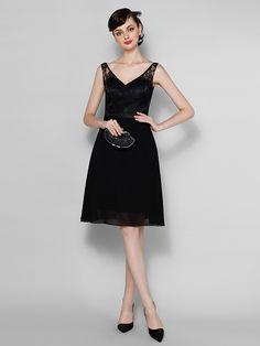 帰省膝丈シフォン/レースの花嫁介添人ドレス - 黒のラインVネック - USD $62.99