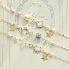 Star And Moon Pearl Bracelets, Cute 😘