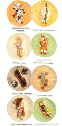 Wrap Recipes - Healthy Lunch Ideas - these look like fun to make and quick for lunches. Ill prolly try all but 2