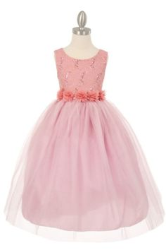 Dusty Rose Dazzling Lace sequined and Tulle Flower Girl Dresses