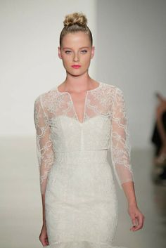 Wedding Dress Cover-Up Cropped cover-up over gown by Amsale, Fall 2014.