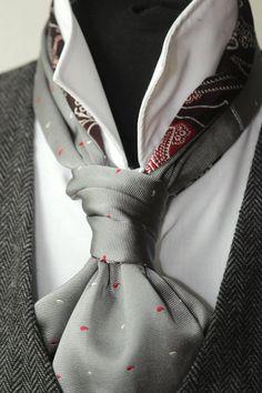 Men s Ascot Silk Cravat Woven Silk Day Cravat Reversible Ascot Tie A062 5f1bcc731df