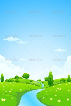 Green Vector Landscape with flowers trees clouds and river Christmas Collection Halloween Collection Landscape Collection