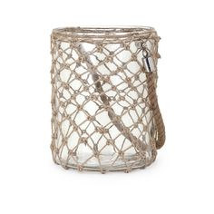 Luca Large Glass and Jute Lantern