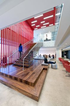 A view of our zCafe area with the staircase taking you to one of our conference rooms and the agency's lobby.
