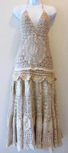 Vintage Style Crocheted Halter Dress Tea Stain Shabby by IzzyRoo, $144.99