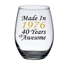 40th Birthday Gift Ideas, 40th Birthday for Her, 40th Birday for Him - Birthday wine glasses by PersonalizedGiftsUS