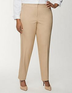 Your modern mentality is front & center in a trendy ankle pant - perfect for workday, weekend or evenings! Our smooth double-weave stretch fabric outfits the season with amazing durability and keeps its shape for all-day wear. Our curvy Lena fit is punctuated with crisp leg creases and faux back pockets to keep the silhouette sleek and polished. Inner button, bar & slide and zip fly closure. lanebryant.com