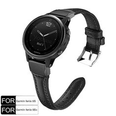 Buy YOOSIDE for Fenix Plus Band, Stainless Steel QuickFit with Classic Genuine Leather Watch Band Strap for Garmin Fenix Plus(Black) Running Gps, Leather Watch Bands, Smart Watch, Black Leather, Stainless Steel, Watches, Classic, Stuff To Buy, Derby