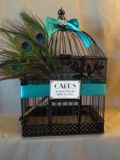 Black Wedding Card Box Peacock Birdcage par TreasuredCelebration, $68.00
