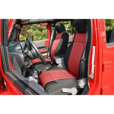 Neoprene Front Seat Covers, Black/Red; 07-10 Jeep Wrangler JK - Crawltech…