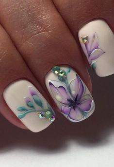 # White & Purple Floral Nail Art