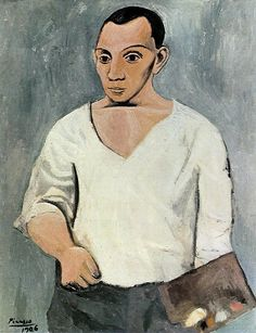 Self Portrait With Palette, 1906 by Pablo Picasso. Bought by Gertrude Stein. There are strong similarities with the portrait Picasso painted of her.