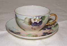 Vintage Hand Painted Haviland Tea Cup from France - Lovely fruit and floral design