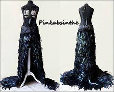 Floor length gothic slit feather skirt