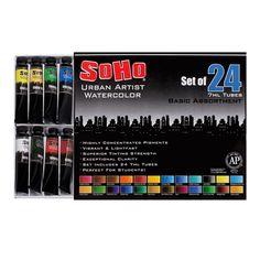 SoHo Urban Artist Watercolors - Basic Set of 24 Assorted Colors