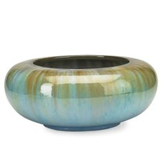 "FULPER Large center bowl with closed-in rim, Chinese Blue Flambe glaze, Flemington, NJ, 1910s; Vertical rectangular ink stamp, incised racetrack mark; 6 1/2"" x 14 1/2"" dia."