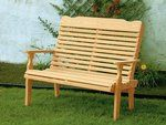 The Pine Wood Curve Back Park Bench from DutchCrafters Amish Furniture is handcrafted from kiln dried Southern Yellow pine with a high back and armrests that help to form a comfortable outdoor seating option for the garden, porch, or patio. #bench #outdoor #park #garden #withback #porch #wooden