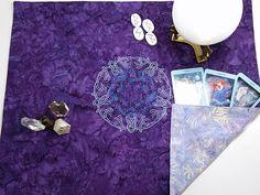 Celtic Knotwork Pentagram Embroidered Reversible Spread Cloth