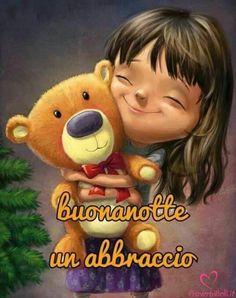 The cute girl and the bear Day For Night, Good Night, Ugly Animals, Italian Memes, Say Hello, Cute Drawings, Cristiani, Goeie Nag, Smileys
