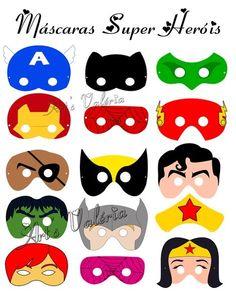 Máscara de super heróis , Feitos em papel fotografico 210gr , vai com elástico para você amarrar. Tamanho Aproximados: 18 x 13cm preço unitario de cada máscara = 2,00 R$ 2,00