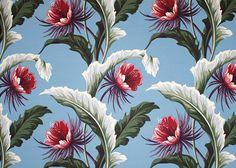 20kapalua Tropical Botanical Vintage Hawaiian Fabric night blooming cereus flowers with banana leaves - non-upholstery cotton barkcloth fabric.