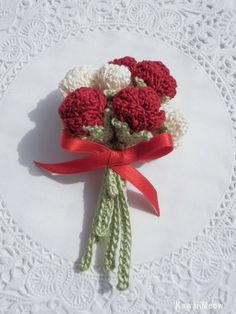 Kawaii Crochet Flower Corsage Brooch Roses  - Red -