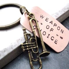 TROMBONE Weapon of Choice Stamped Keychain, alt charms available, gift for the… Marching Band Mom, Marching Band Problems, Flute Problems, Trumpet Players, Band Nerd, Brass Band, Music Humor, Music Stuff, Music Things