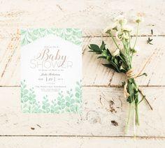 Watercolor Vine Garden Baby Shower Invite | Chic elegant whimsical and botanical. Pink and green. Nature | Plants | leaves | botanic | floral | elegant | Baby girl | Invitation https://www.zazzle.com/garden_vines_watercolor_baby_shower_invitation-256759771313219233?rf238262815644635252
