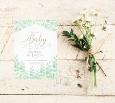 Watercolor Vine Garden Baby Shower Invite | Chic elegant whimsical and botanical. Pink and green. Nature | Plants | leaves | botanic | floral | elegant | Baby girl | Invitation    https://www.zazzle.com/garden_vines_watercolor_baby_shower_invitation-256759771313219233?rf238262815644635252