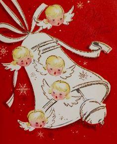 Christmas Angels. Vintage Christmas Card. Retro Christmas Card. It's Christmas.