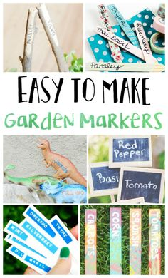 Easy to Make Garden Markers - Juggling Act Mama Plant Markers, Garden Markers, Outdoor Projects, Easy Projects, Organic Gardening, Gardening Tips, Diy Paper, Paper Crafts, Dinosaur Garden