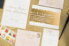 """Painterly Gold Foil Wedding Stephanie + Blakes Painterly Gold Foil Wedding Invitations {WHAT I LIKE: the rehearsal dinner invite with the """"solid"""" gold band and white writing} Foil Wedding Invitations, Unique Invitations, Rehearsal Dinner Invitations, Beautiful Wedding Invitations, Invitation Envelopes, Wedding Invitation Suite, Wedding Stationery, Invitation Ideas, Wedding Paper"""