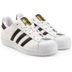 Adidas Originals Superstar Leather Sneakers (595 DKK) ❤ liked on Polyvore featuring shoes, sneakers, adidas, chaussures, white, adidas originals, adidas originals sneakers, adidas originals shoes, white shoes and white trainers