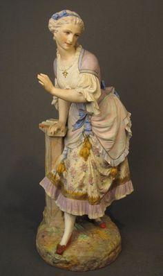 XXL RARE Antiq French Vion&Baury Bisque/Porcelain Statue/Figurine 28x13 marked