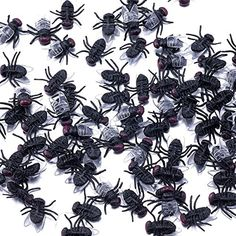 Guestway 100Pcs Verisimilar Fly Toys Magic Plastic Bugs Trick Joke Toy HALLOWEEN PROP Prank Kidding Black