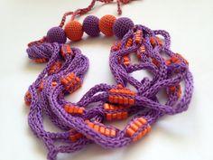"Crochet Cotton Lariat Necklace/ Crochet Necklace ""Asymmetry""/ Eco Jewelry/ Eco-Friendly/ Necklace Yarn/ Boho Style Necklace/ Necklace Scarf"