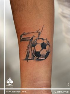 A tattoo to attract all Sporting enthusiasts no other activity ignites passion like football. Soccer Tattoos, Football Tattoo, Number Tattoos, Football Football, Mum Tattoo, Calf Tattoo, First Tattoo, Cristiano Ronaldo, Couple Tattoos