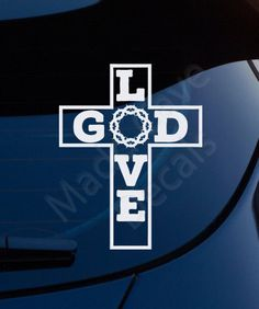 Love God Cross Crown Thorns Christian Decal Car by MaddCaveDecals Rib Tattoos Words, Quote Tattoos Girls, God Tattoos, Hindu Tattoos, Faith Tattoos, Music Tattoos, Cool Symbols, Meaningful Tattoo Quotes, Gods Guidance