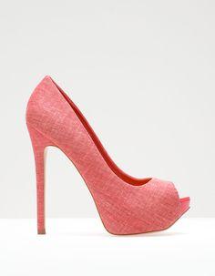 Linen peep toe platforms - Stradivarius
