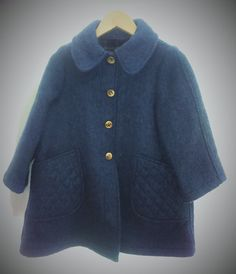 Manteau fille laine vintage bleu par Jeanneetlouis sur Etsy