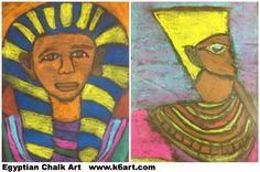 Sixth grade Ancient Egyptian glue and chalk art project.