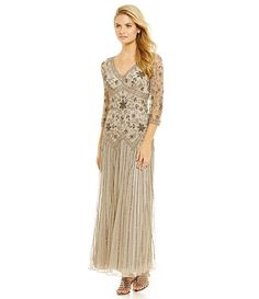 Silver:Pisarro Nights V-Neck Beaded Mesh Gown