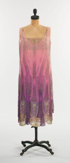 Evening ensemble  Philippe & Gaston, ca 1925, French (probably).  Silk, beads, metal, tortoiseshell, & feather.