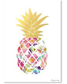 Spotted this Watercolor Floral and Gold Pineapple by Penny Jane Designs on Rue La La. Shop (quickly!).