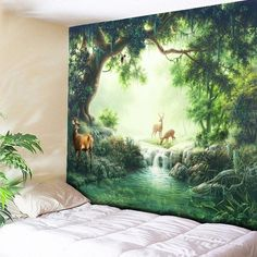 Wall Decor Elks Nature Forest Printed Hanging Tapestry - GREEN W59 INCH * L51 INCH