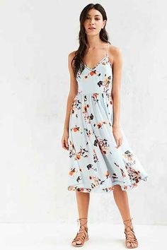 Kimchi Blue Cindy Ladder Lace Midi Dress, blue multi floral, sleeveless, $89 | Urban Outfitters